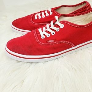 VANS // Red Canvas Sneakers Shoes Size 8.5